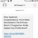 Npower Batch C list of successful Shortlisted Candidates via SMS 2021