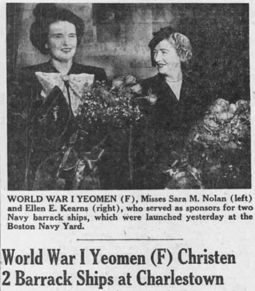 Black and white news clipping of two women holding flowers. Headline below reads World War I Yeomen (F) Christen 2 Barracks ships at Charlestown