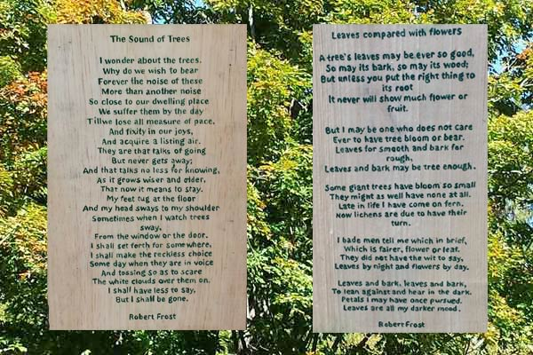 Two of the Robert Frost Poems (stops 1 and 5) along the Robert Frost Poetry Trail