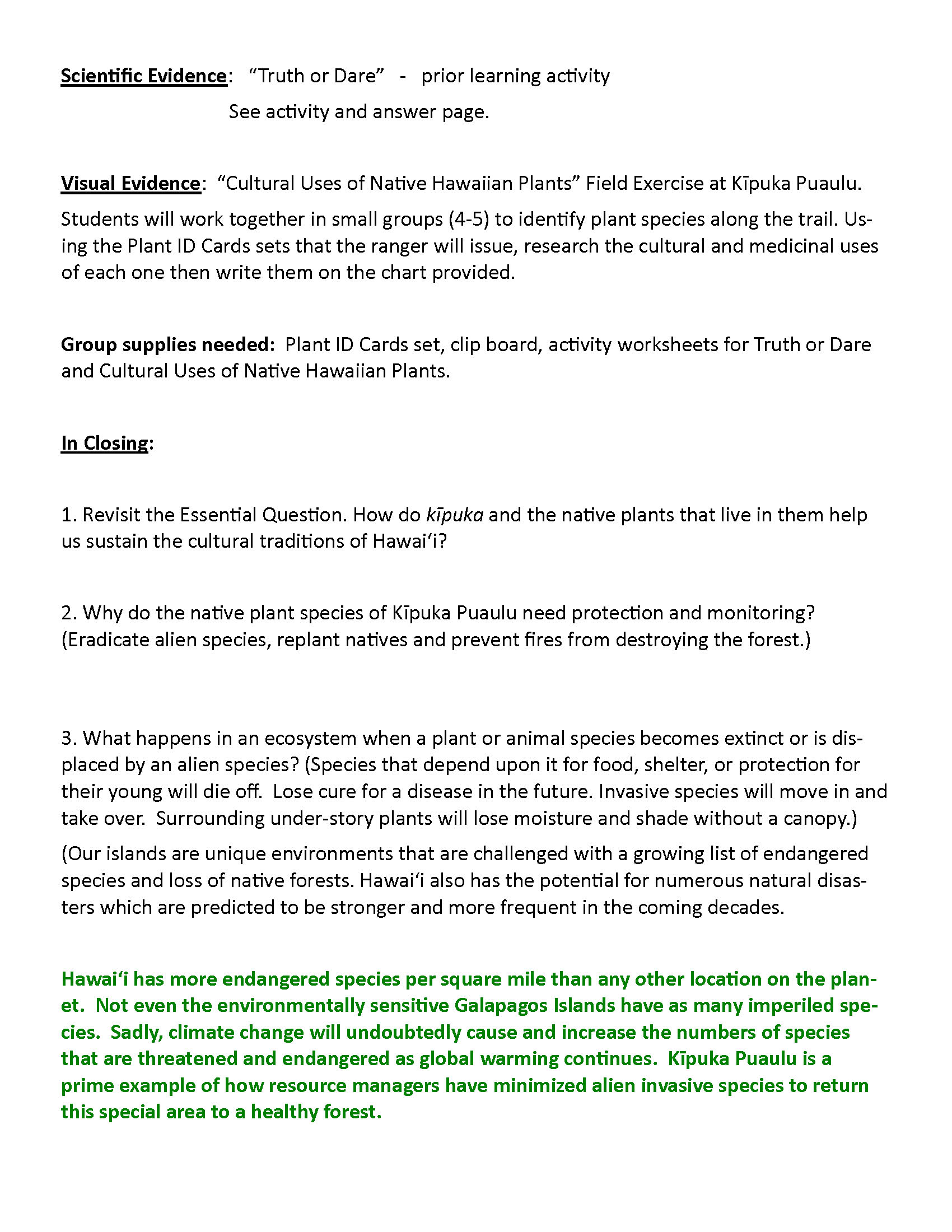 Cultural Uses Of Native Plants Grades 6 12