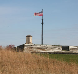 The American Flag, as it is known today, flies over Fort Stanwix National Monument. It is flown following the U.S. flag code regulations. At all times of the year it is a quite a site to see. National Park Service VIP Mike Hucko