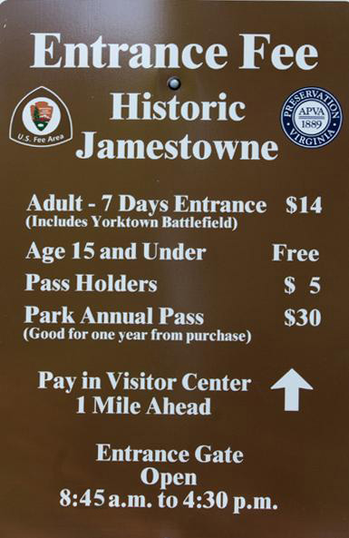 Fees  Passes  Historic Jamestowne Part of Colonial National Historical Park US National