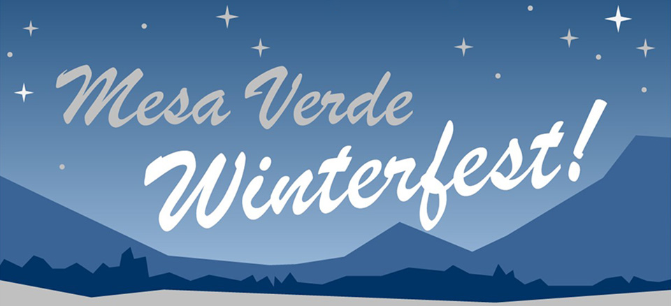Illustration of night sky with mountains and starts. Mesa Verde Winterfest! is in foreground.