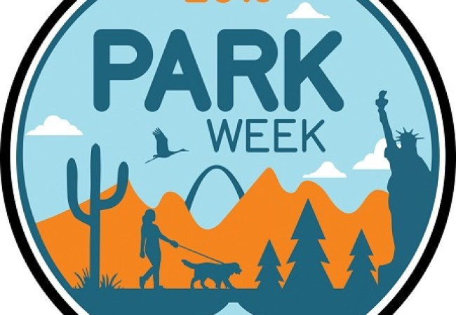 "Graphic reading ""2019 Park Week"" with images of a ranger hat, saguaro, person walking dog, trees, mountain, bird Statue of Liberty, and Gateway Arch"