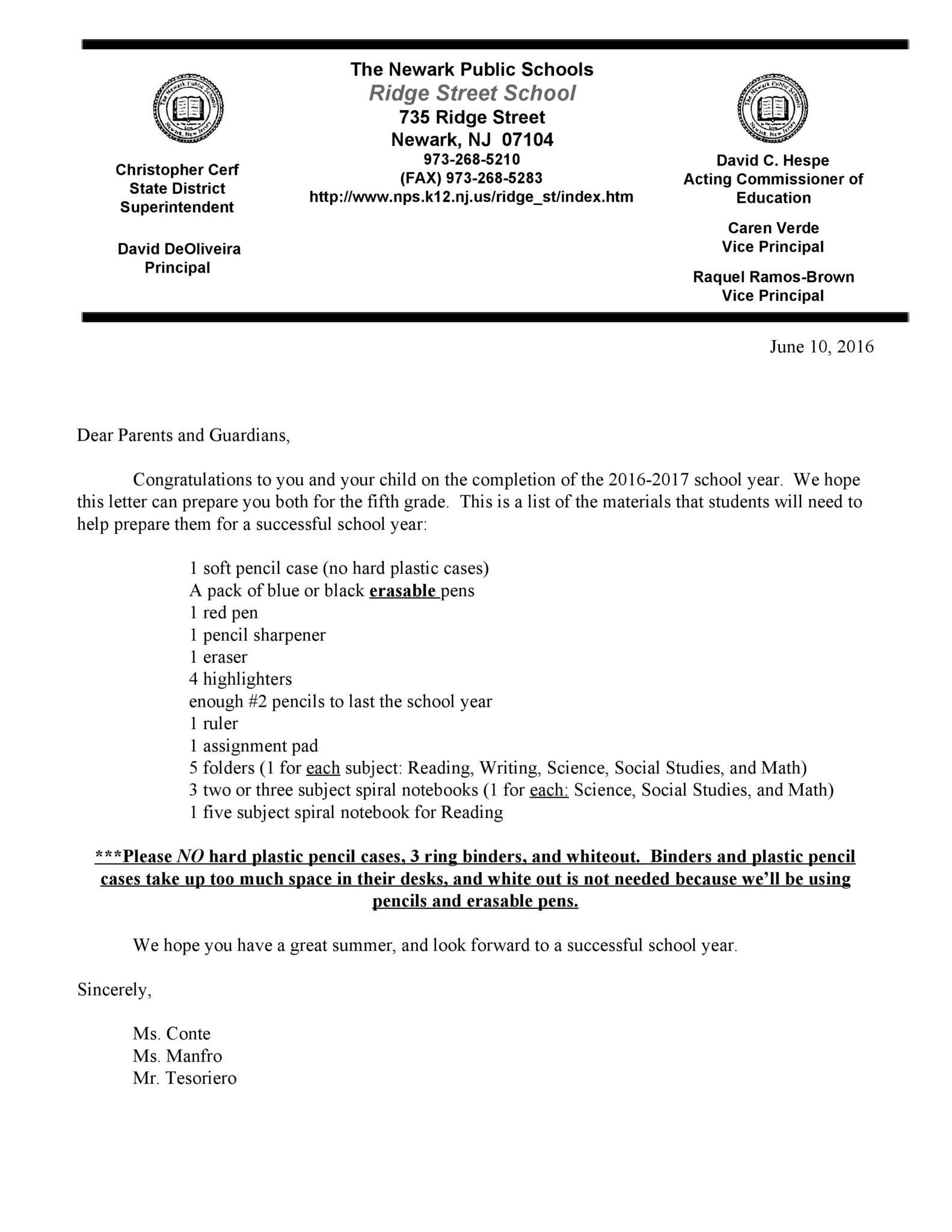 Rising 4th Graders School Supplies List