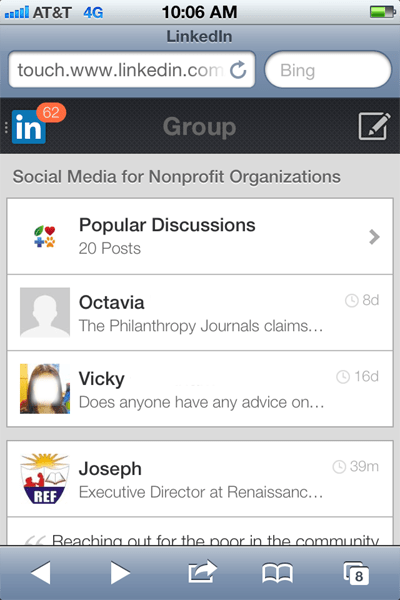 linkedin groups mobile