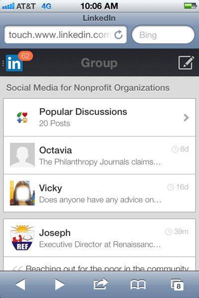 linkedin groups mobile
