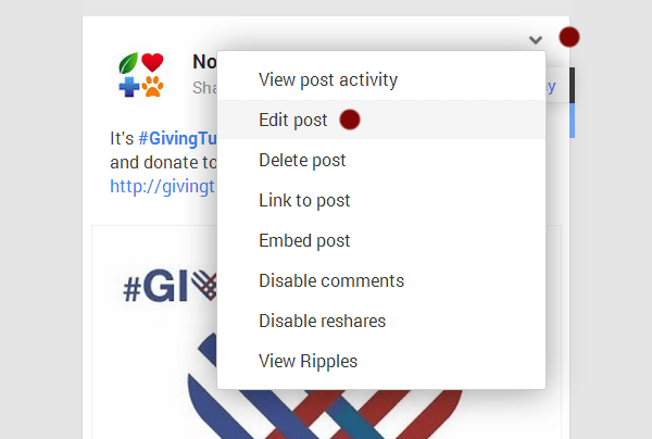 Edit Google+ Posts