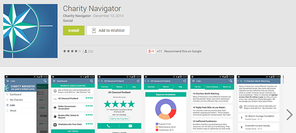 Charity Naviagor Google Play