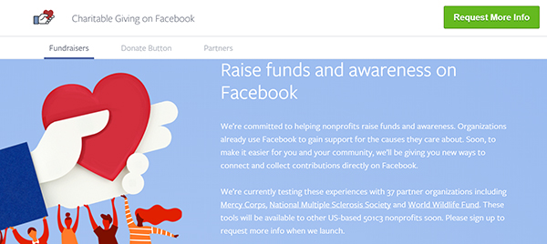 facebook fundraisers and donate now buttons
