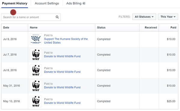 donation history on facebook