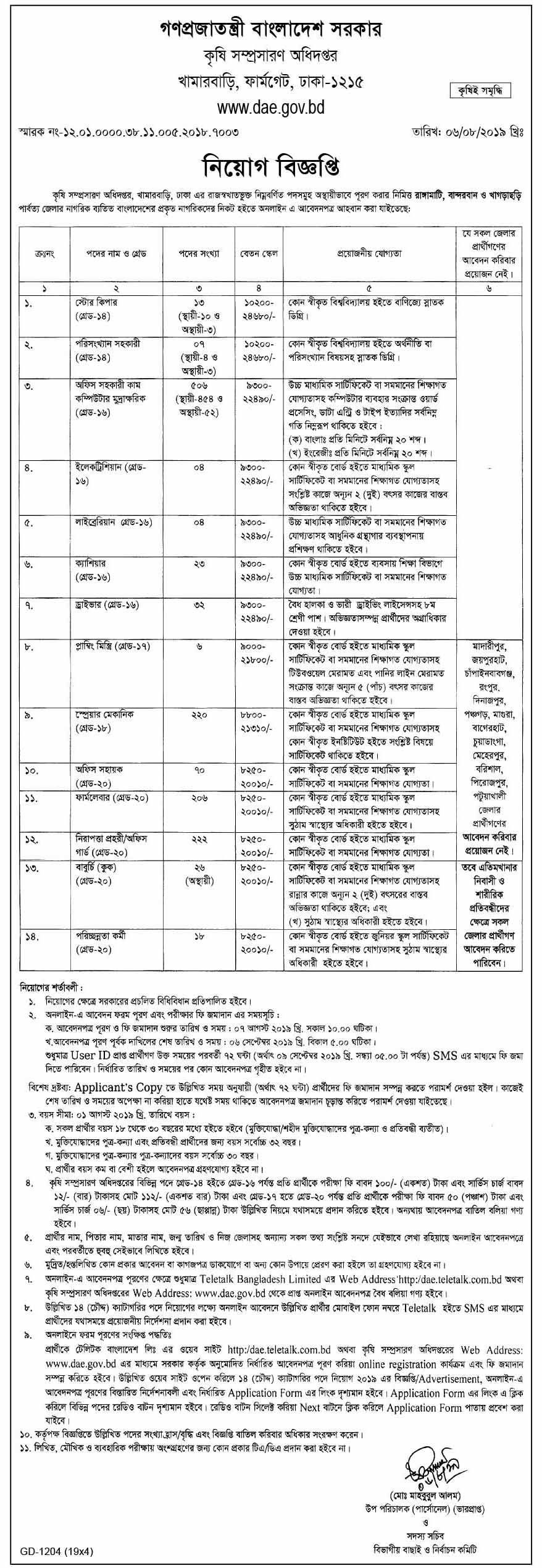 Department of Agricultural Extension Job Circular 2019