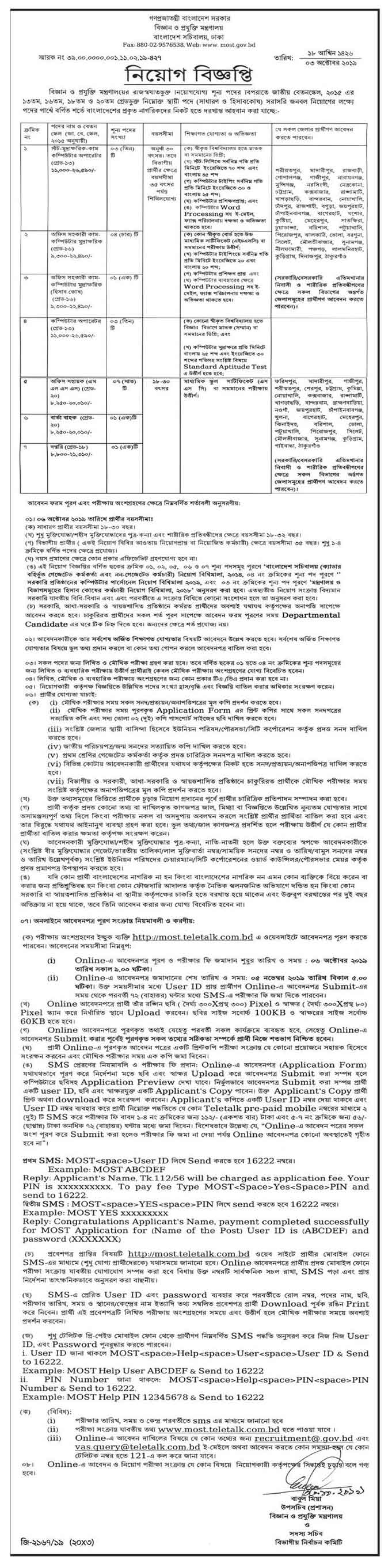 Ministry of Science and Technology Job Circular 2019