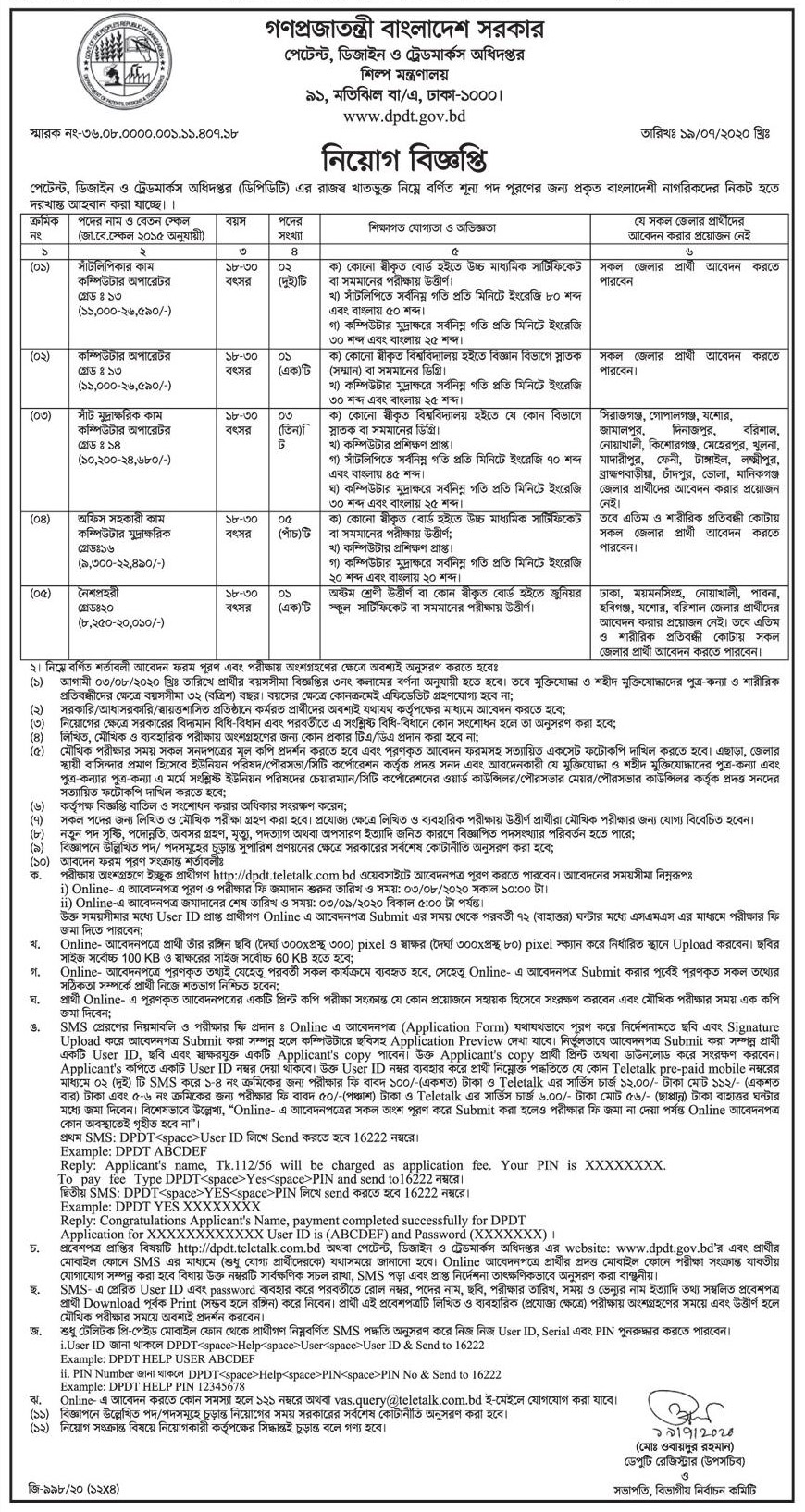 Ministry of Industries Job Circular