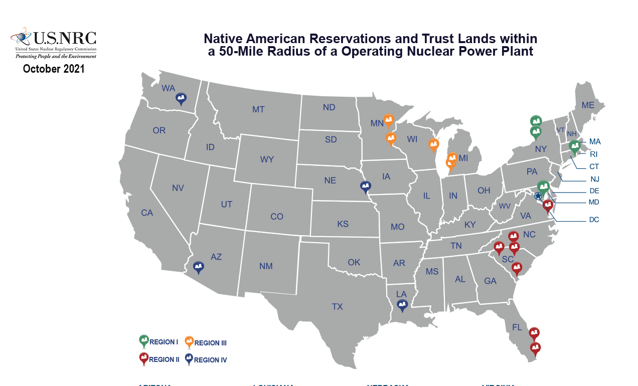 hight resolution of native american reservations and trust lands within a 50 mile radius of a nuclear power