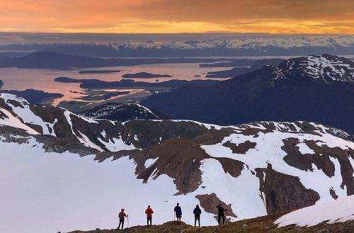 students watching Glacier Bay sunset