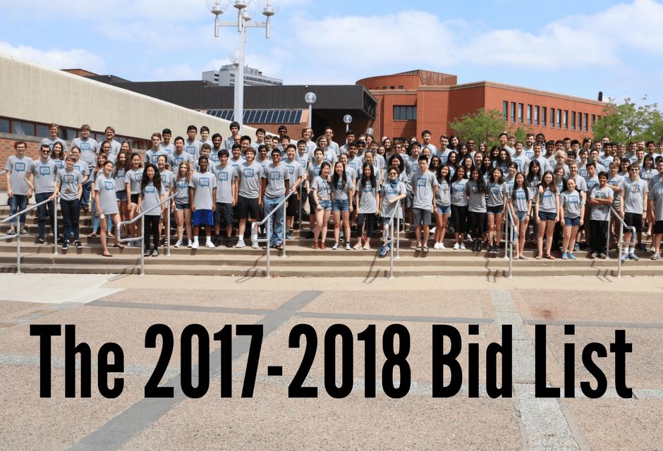 The 2017-2018 Bid List