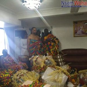 Husband of Adwoa Safo, Hanny at traditional marriage ceremony of wife Adwo Safo