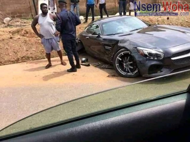 Shatta Wale's car after accident