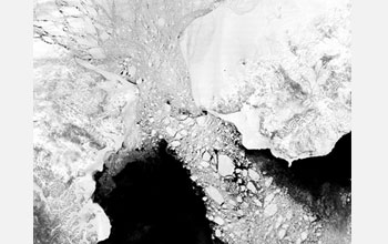 Ice pouring through the Bering Strait, from the Arctic to Pacific Ocean - NASA photo via NSF
