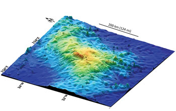 Seafloor 3-D image showing size and shape of Tamu Massif