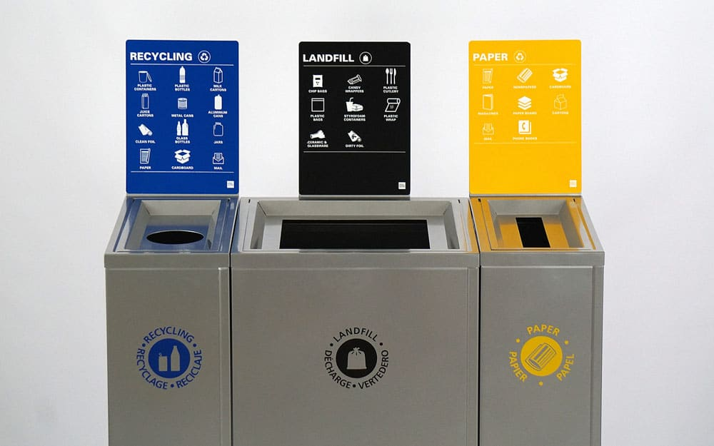 Magnuson Valuta Waste Receptacles with Labels