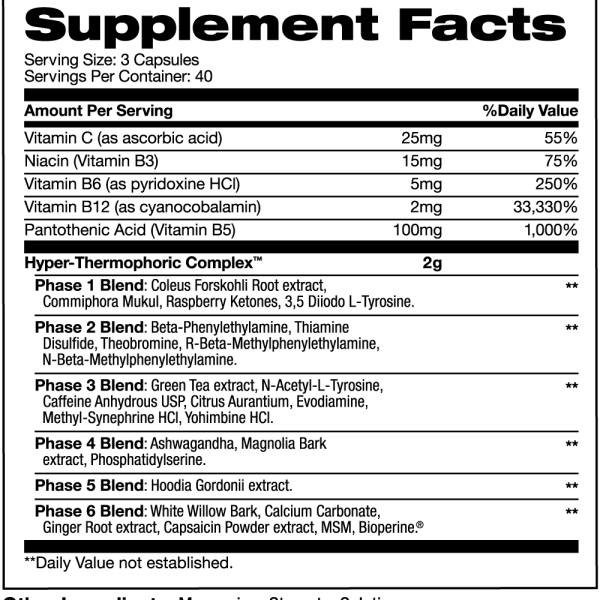 Hypercor supplement facts