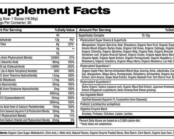 superfood supplement facts