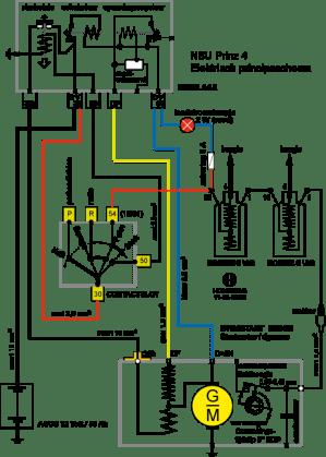 Technische website NSU motor  Hans Homburg  Electric principle diagram of NSU Prinz 4