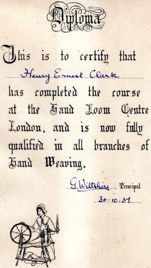 Diploma for H E Clark