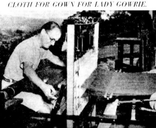Cloth being woven by H E Clark for Lady Gowrie, wife of the Governor of South Australia (1939)