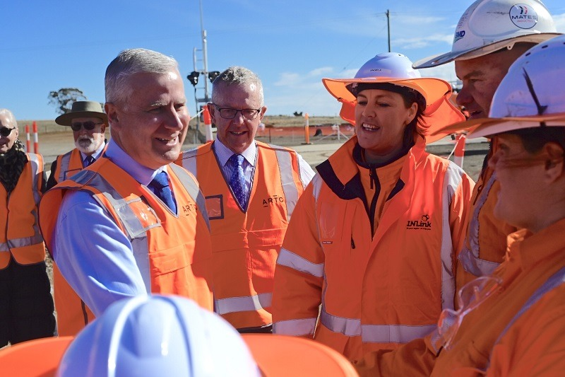 Michael McCormack and Mark Coulton inspecting the Inland Rail.