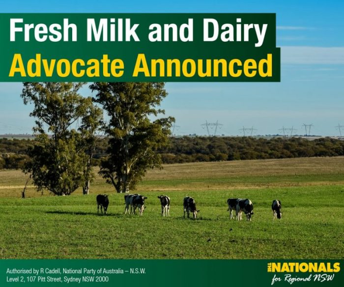 Ian Zanstra announced as Dairy Advocate for NSW