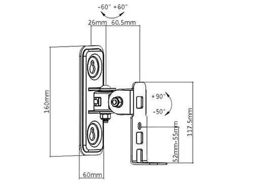 Wandhalter für Lautsprecher Lautsprecherhalter schwarz