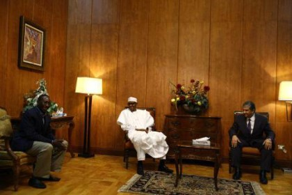 President Buhari, Minister of Environment of Egypt Mr Khaled Fahmy and NSA Monguno