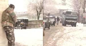 Encounter between snowfall in Srinagar