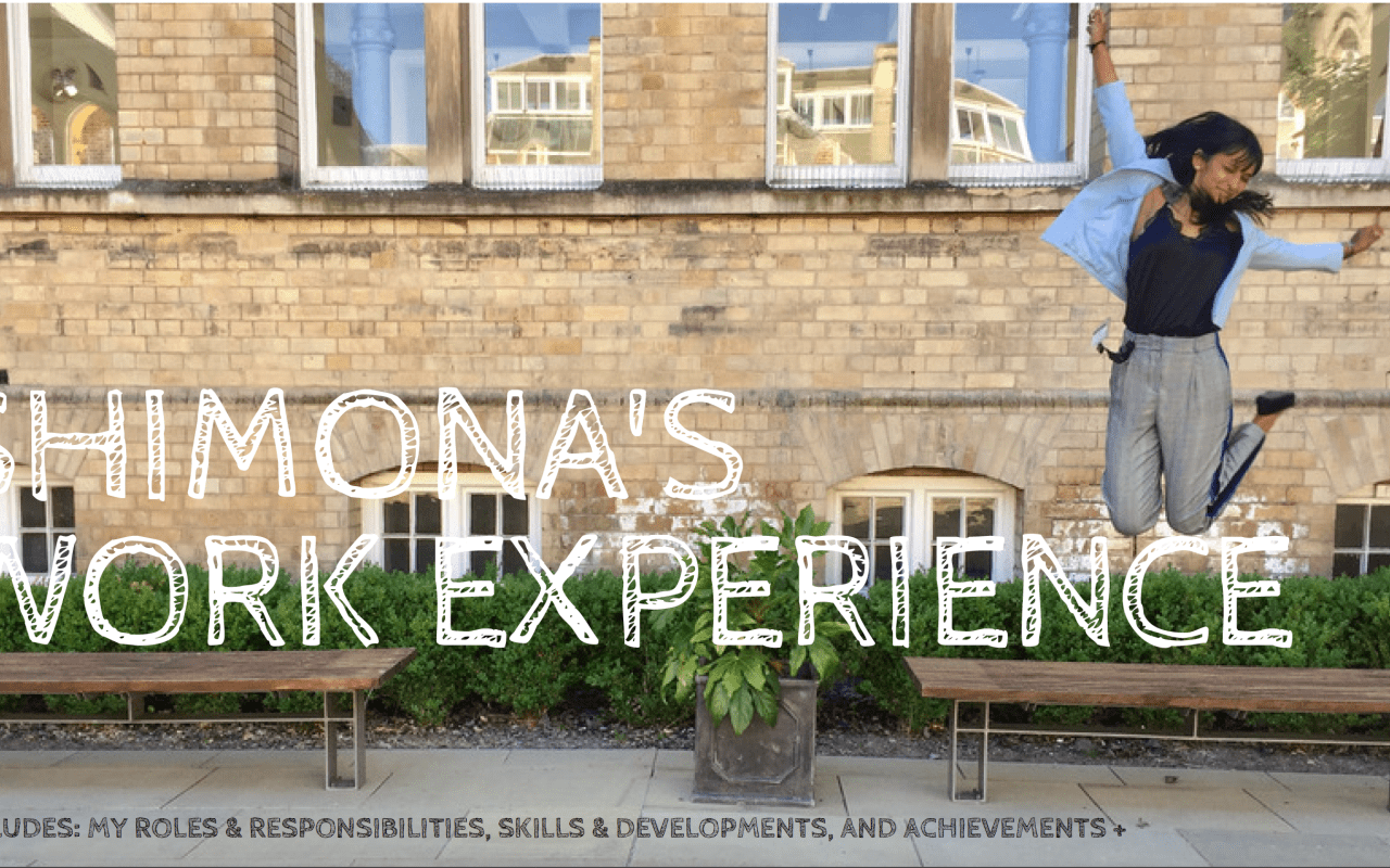 Shimona's Work Experience with NTU