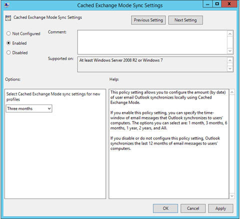 Outlook 2013 / 2016 Mail To Keep Offline Group Policy Settings