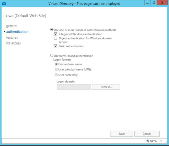 Integrated Windows Authentication Exchange Server 2016