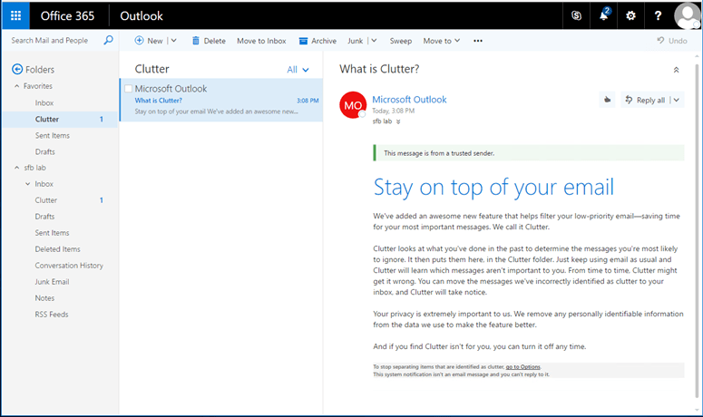 activate clutter outlook 2016
