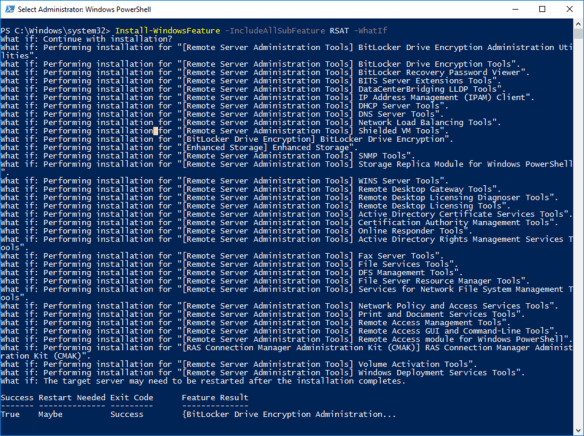 Install All RSAT Tools in One Single Cmdlet On Windows Server 2016