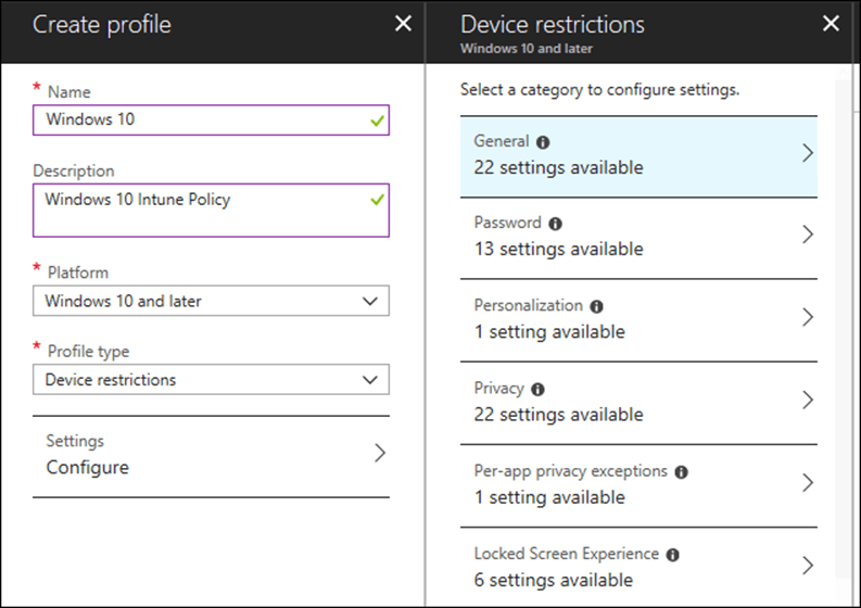 Configure Windows 10 Group Polices with Microsoft Intune