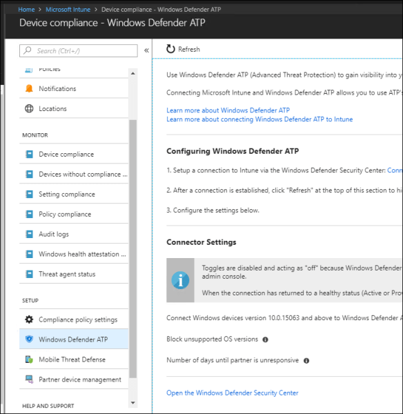Enable and Configure Office 365 Defender ATP with Intune