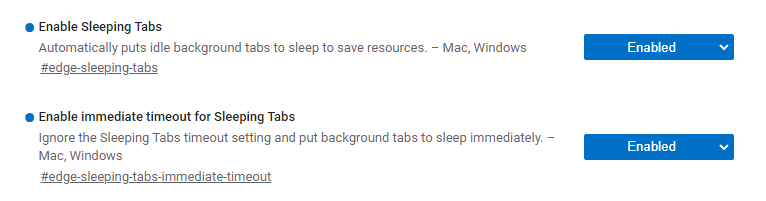 Settings to enable sleeping tabs in Microsoft Edge set to enabled.