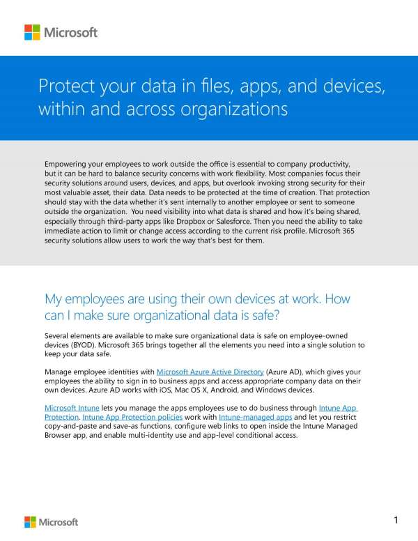 Protect your data in files, apps, and devices, within and across an organization