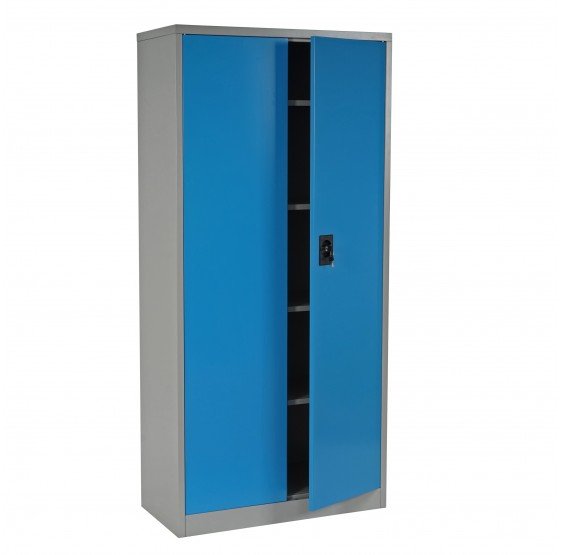 cabinet boston t130 meuble de bureau armoire metallique 2 portes 180x85x40cm bleu