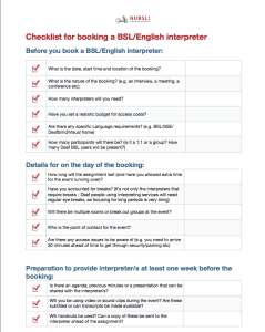 booking a bsl/english interpreter checklist