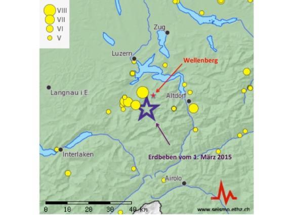 Abbildung 2: Karte der historische Seismizität (=V) (http://www.seismo.ethz.ch/index)