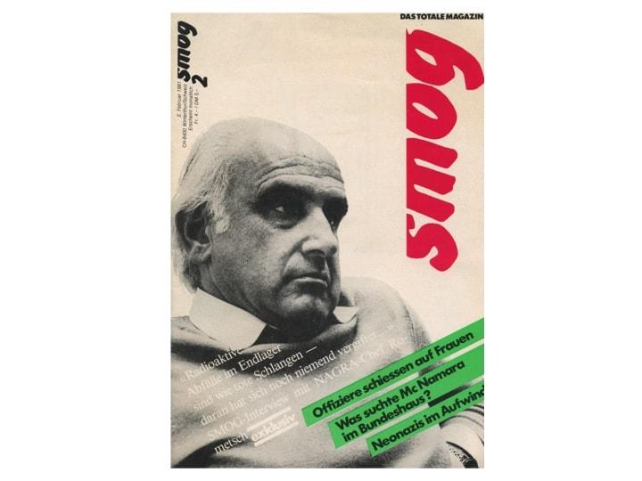 """Abbildung 2: Titelbild der inzwischen eingegangenen Zeitschrift """"Smog"""" mit Bildnis von Rometsch und dem plakativen Ausspruch """"Radioaktive Abfälle im Endlager sind wie tote Schlangen – daran hat sich noch niemand vergiftet"""""""