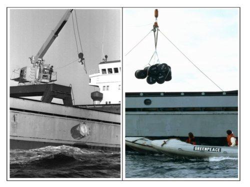 Figur 4: Nord Atlantik, 15. Juni 1982. Links: Versenkungsaktion; Rechts: AktivistInnen in Schlauchbooten verhindern, dass Fässer mit radioaktivem Abfall ins Meer versenkt werden (© Greenpeace / Pierre Gleizes)